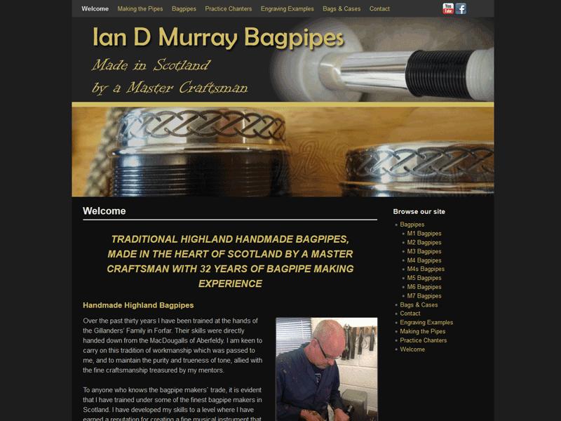Bagpipe maker's website