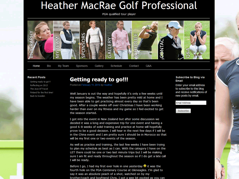 Professional golfer's website